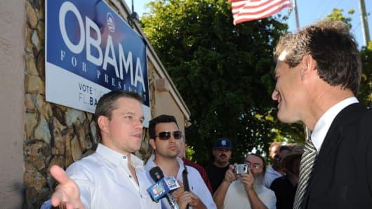 Matt Damon visits Barack Obama's campaign headquarters in Florida in 2008